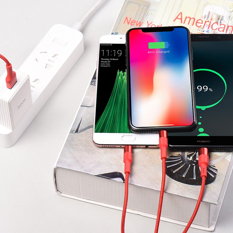 Cable USB a Lightning Micro-USB Type-C Cable de carga «X26 Xpress» Rojo